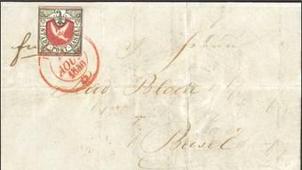 Dieser Faltbrief mit der begehrten Taube wartet in Luzern auf Sammler oder Investoren mit dickem Portemonnaie.