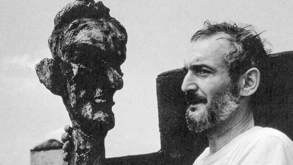 Der Künstler Hugo Weber mit seinem Portrait von Abraham Lincoln aus dem Jahre 1963.