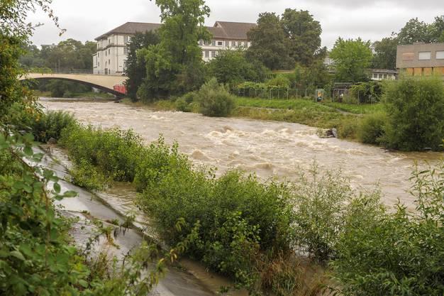 Bei Birsfelden hat die Birs bereits den Uferweg erreicht.