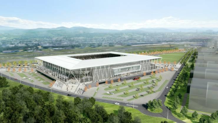 Das neue Stadion des SC Freiburg aus der Vogelperspektive.