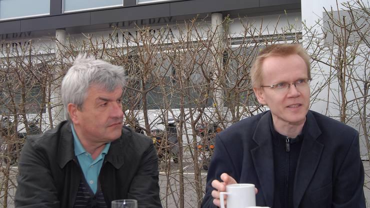 Walter Küng (li.) und Bruno Meier rufen dazu auf,    den Diskurs rund um die Kultur und deren Förderung sofort zu beginnen.(Bild: wal)