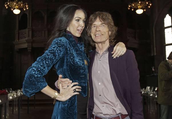 L'Wren Scott mit Freund Mick Jagger an einer ihrer Mode-Shows (Oktober 2012)