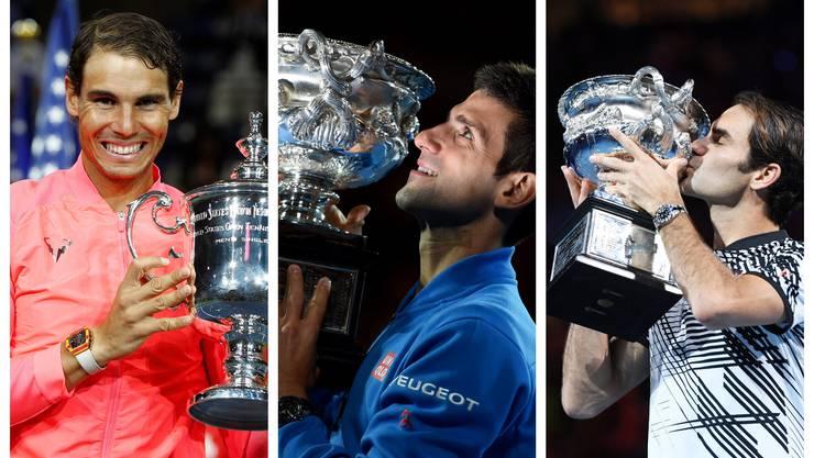 Rafael Nadal, Novak Djokovic und Roger Federer teilten seit 2015 gleich 52 von 60 Grand-Slam-Trophäen unter sich auf.