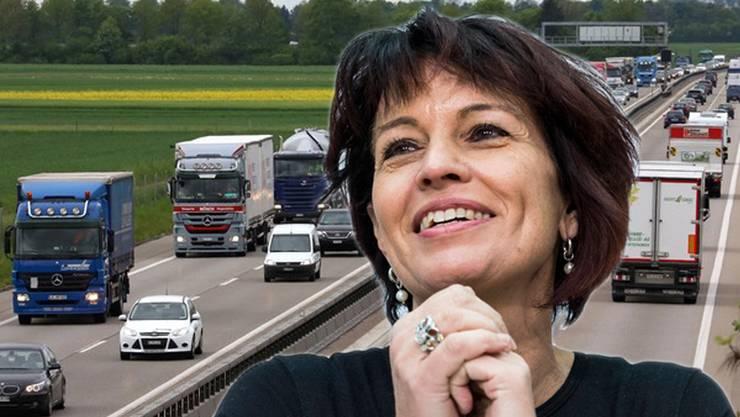 Doris Leuthard macht sich stark für den Ausbau der A1.(Fotomontage)