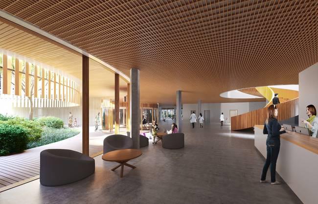 Soll soll das neue Universitäts-Kinderspitals in Zürich Lengg einst aussehen: Das Foyer.