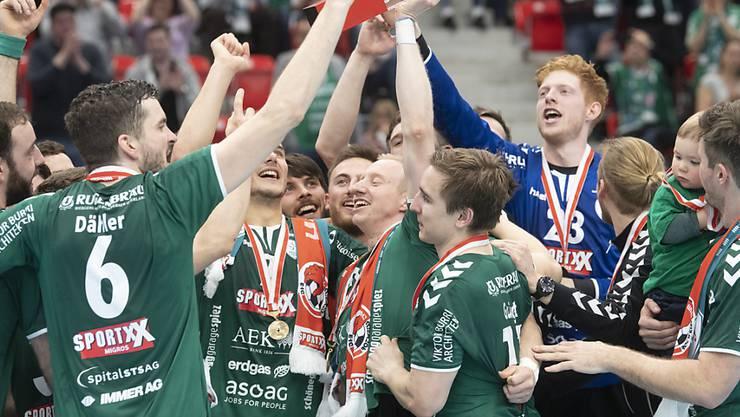 Wacker Thun feierte im Vorjahr seinen Cupsieg (im Bild). 2020 wird es keine(n) Cupsieger im Handball geben