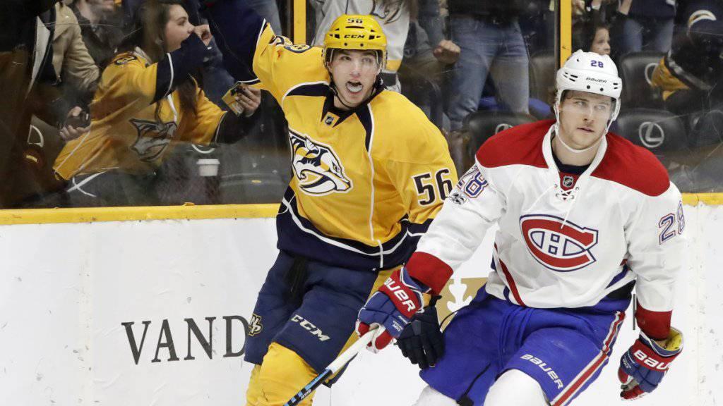 Kevin Fiala erzielte gegen die Montreal Canadiens seinen 6. Saisontreffer für die Nashville Predators