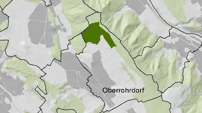 Die dunkelgrün eingefärbte Fläche zeigt das Eichenwaldreservat.  zvg