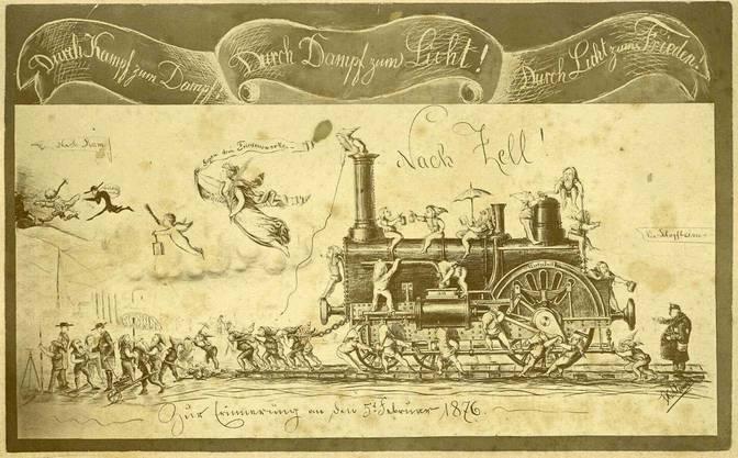 Foto einer Zeichnung des Jahres 1876, die die Eröffnung des Abschnitts der Wiesentaler Bahn bis Zell humorvoll kommentiert und karikiert.