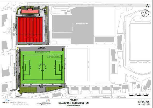 Der Situationsplan mit Ballsport-Center, Aussenfeld, den Kunstrasenplätzen und der Kunsteisbahn Kleinholz