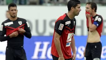 Enttäuschte Gesichter beim FC Aarau nach der verheerenden Niederlage.
