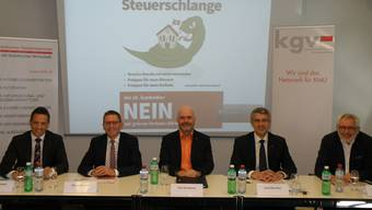 Gegner der «Grünen Wirtschaft» (von links): SVP-Nationalrat Christian Imark, CVP-Ständerat Pirmin Bischof, Roy Nussbaum (Nussbaum AG, Olten), Josef Maushart (Fraisa SA, Bellach) und Mark Winkler (FDP-Kantonsrat sowie Präsident des Hauseigentümerverbands Kanton Solothurn).