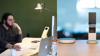 Unternehmer Oliver Studer im «Neeo»-Büro am Ritterquai. «Neeo» besteht aus zwei Teilen: einem «Brain» und einer Fernbedienung.