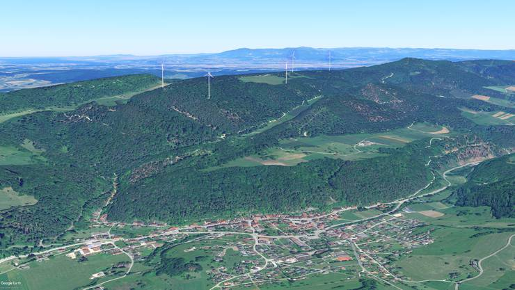 Der Windpark Challhöchi soll aus fünf Turbinen bestehen. Bis er dereinst wie auf dieser Visualisierung steht, gibt es noch viele Hürden zu überwinden.
