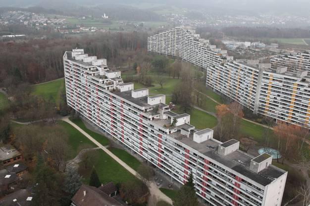 Die Häuserzeilen Rütmatt- und Delfterstrasse von oben, November 2012