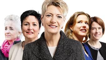Kronfavoritin Karin Keller-Sutter (M.) und lauter Absagen: Carmen Walker Späh, Daniela Schneeberger, Christa Markwalder und Petra Gössi (von links).