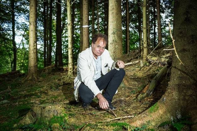 Wachtmeister Martin Müller zeigt, wo ein Pilzsammler am 28. Oktober 2000 menschliche Knochen entdeckte. Erst zwei Jahre später wurde klar, dass es sich dabei um Körperteile der vermissten Heidi Scheuerle handelt.