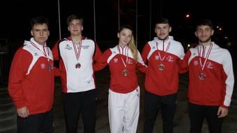 Die Basler Medaillengewinner des Austrian Junior Open in Salzburg.