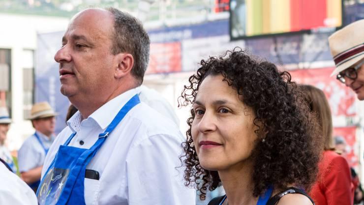 Markus Dieth und Vincenza Trivigno zusammen an der Fête des Vignerons 2019 in Vevey.