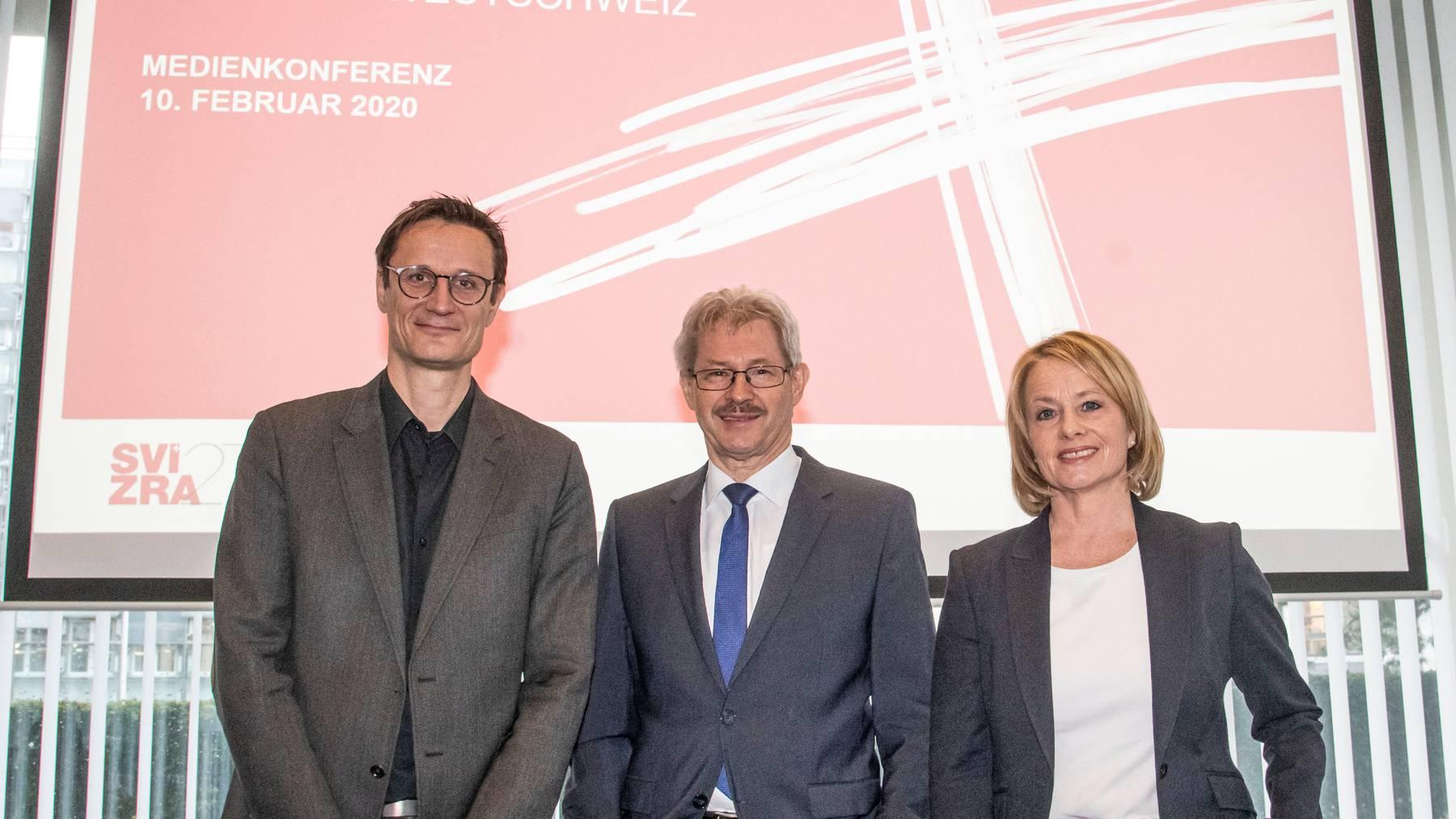 Die Köpfe hinter «Svizra27»: Jost Huwyler, Präsident Kurt Schmid (M.) und Elisabeth Schneider-Schneider.