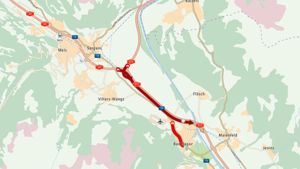 Der Autobahnverkehr zwischen Sargans und Bad Ragaz ist wegen eines Unfalls beeinträchtigt.