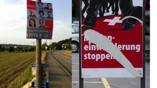 Abgehängte und zerstörte Plakate