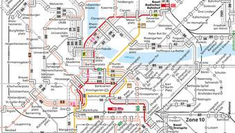 Die meistfrequentierte Haltestelle Basels hat bald nur noch die Hälfte der Geleise – 2er- und 8er-Tram fahren.