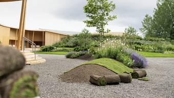 Abgesagt: Der teilweise bereits aufgebaut Erlebnisgarten der ZKB auf der Zürcher Landiwiese wird nicht fertiggestellt. (Archivbild)