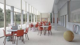 So sah das Interieur des neuen Schulhauses Risiacher auf den Visualisierungen vor der Abstimmung aus.