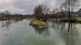 So sieht die Aare zwischen dem Schönenwerder Wehr und Aarau derzeit aus: Zwei unterschiedlich grosse Kanäle, getrennt durch den Mitteldamm.