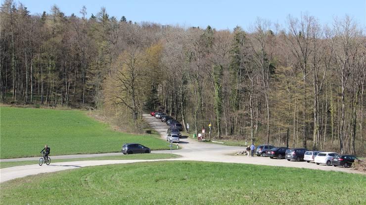 Viele Besucher parken auf der  Ampfernhöhe. Bald stehen dort aber nur noch 10 bis 12 Abstellplätze zur Verfügung.