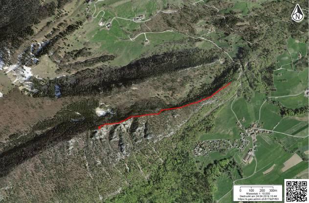Mit Rot ist der Weg auf dem Ostgrat des Balmfluhköpfli eingezeichnet.