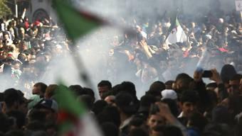 Protestierende in Algier wurden auch am Freitag wieder mit Tränengas zurückgedrängt.