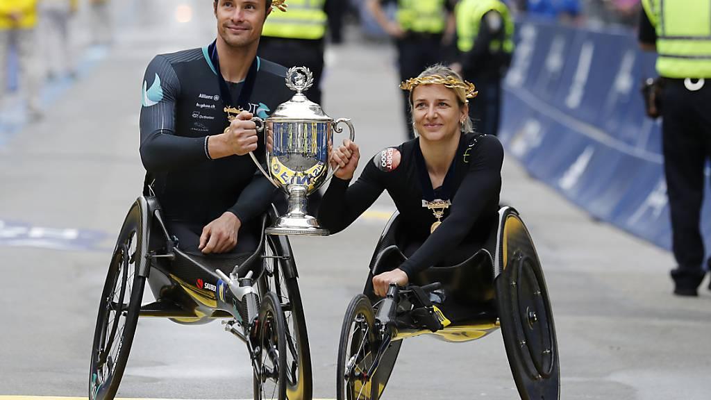 Schweizer Doppelsieg in den Rollstuhl-Rennen von Boston