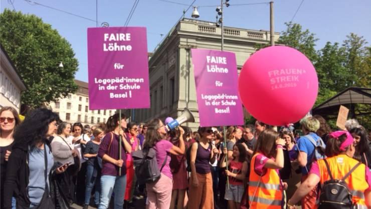Am Frauenstreiktag vom 14. Juni demonstrierten die Basler Logopädinnen für mehr Lohn.
