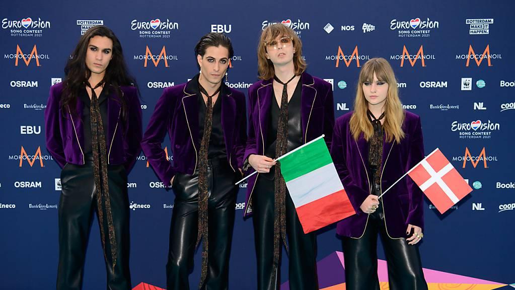 ARCHIV - Sie haben den Eurovision Song Contest 2021 f ̧r Italien gewonnen - die Band MÂneskin. Foto: Soeren Stache/dpa-Zentralbild/dpa
