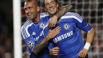 Chelsea-Torschützen Raul Meireles (l.) und Fernando Torres