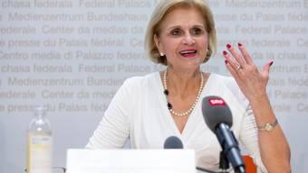 Die Zürcher FDP-Nationalrätin Doris Fiala während einer Medienkonferenz. Bild: Peter Klaunzer/Keystone (Bern, 3. Juni 2019)