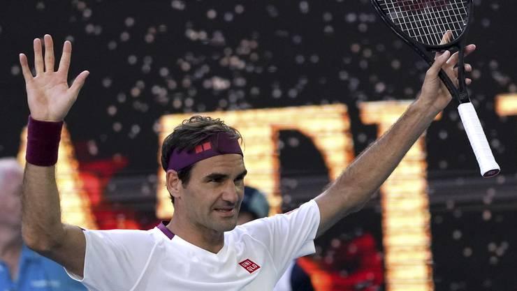 Was für eine Erlösung: Roger Federer jubelt nach 3,5 Stunden über seinen Viertelfinal-Sieg.