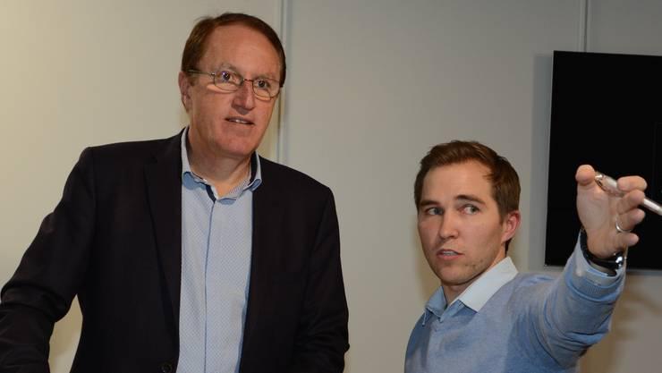OK-Präsident Peter Spring (links) und Bauchef Christian Füglistaller sehen die Mega19 schon ganz klar vor sich.