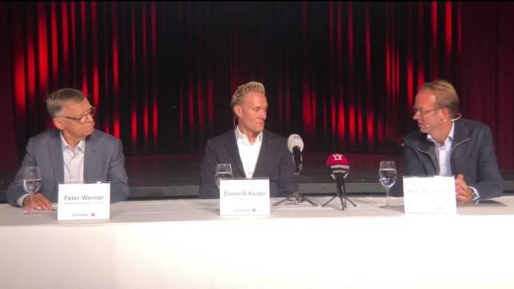 CH Media-Präsident Peter Wanner, 3 Plus-Gründer Dominik Kaiser und CH Media-CEO Axel Wüstmann.