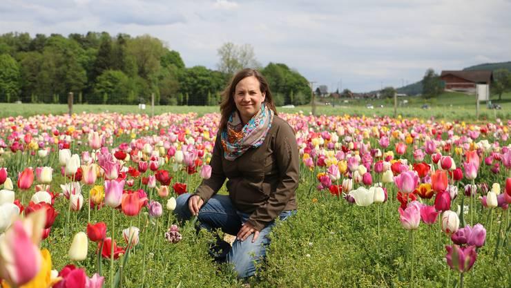 Bietet derzeit auf ihrem Blumenfeld Tulpen an: Stéphanie Delz vom Rüchihof in Möhlin.