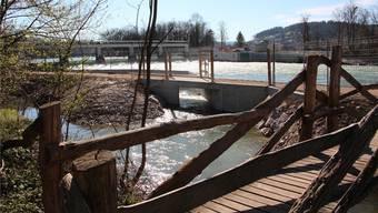 Das Einlaufbauwerk, durch das der Frey-Kanal mit Aarewasser gespeist wird, ist fertig. Kel