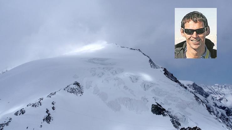 Der Wind wirbelt Schnee über den Pigne d'Arolla. Sieben Skitourenfahrer verloren hier ihr Leben. Oben rechts: der Augenzeuge der Rettung Thomas Pflügl.