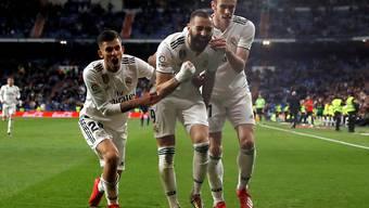 Karim Benzema schoss Real Madrid vor nur knapp 50'000 Zuschauern im Bernabeu zum Sieg
