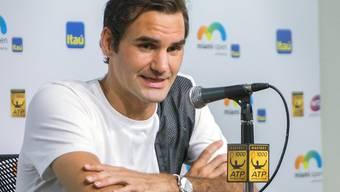 Roger Federer in Miami im Gespräch mit den Medien