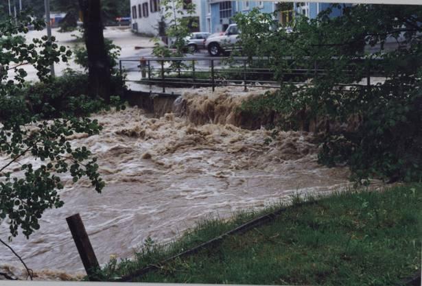 08_Die Fussgängerbrücke beim Reppischhof während dem Jahrhunderthochwasser im Mai 1999