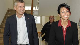 Sandra Sollberger (rechts) hat Thomas De Courten (links, beide SVP) überholt: Sie zeigt sich überrascht, doch sehr stolz auf das Ergebnis.