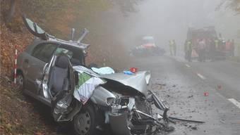 Im Vordergrund der Nissan der korrekt entgegen kommenden Lenkerin, hinten der Subaru des Unfallverursachers.