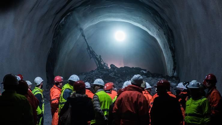 Der Durchstich beim Ceneri-Basistunnel im Jahr 2016.